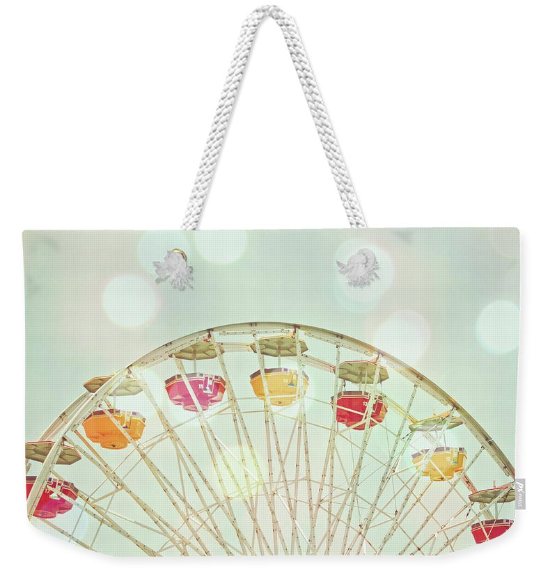 Hanging Weekender Tote Bag featuring the photograph Pastel Ferris Wheel by Joyhey