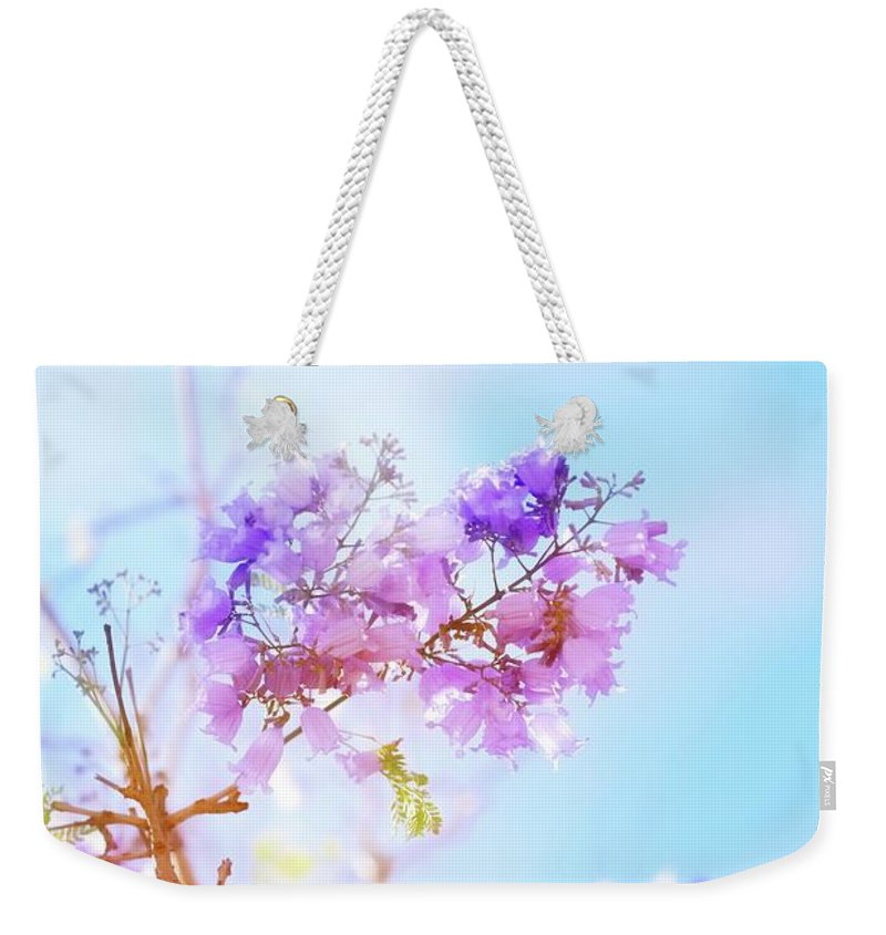 Flower Weekender Tote Bag featuring the photograph Pastels In The Sky by Az Jackson