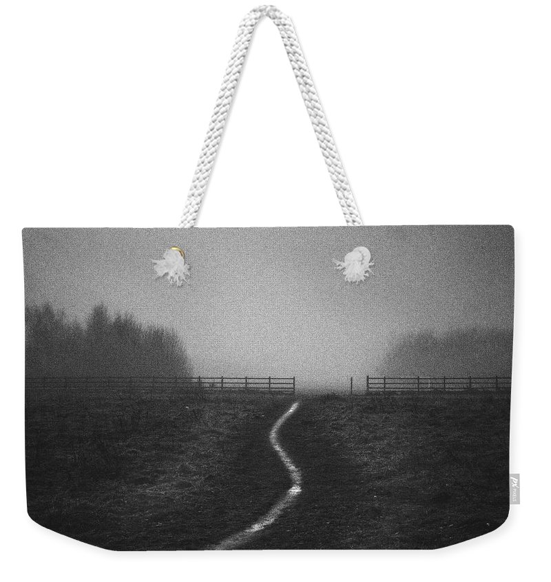 Tranquility Weekender Tote Bag featuring the photograph Path In Mist by Doug Chinnery