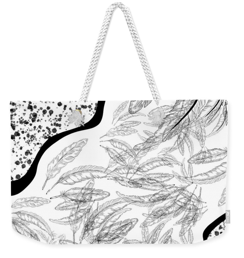 Feather Weekender Tote Bag featuring the drawing Pattern Flying Feathers by Patricia Piotrak