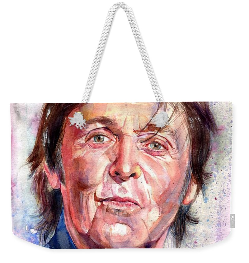 Paul Weekender Tote Bag featuring the painting Paul McCartney Watercolor by Suzann Sines