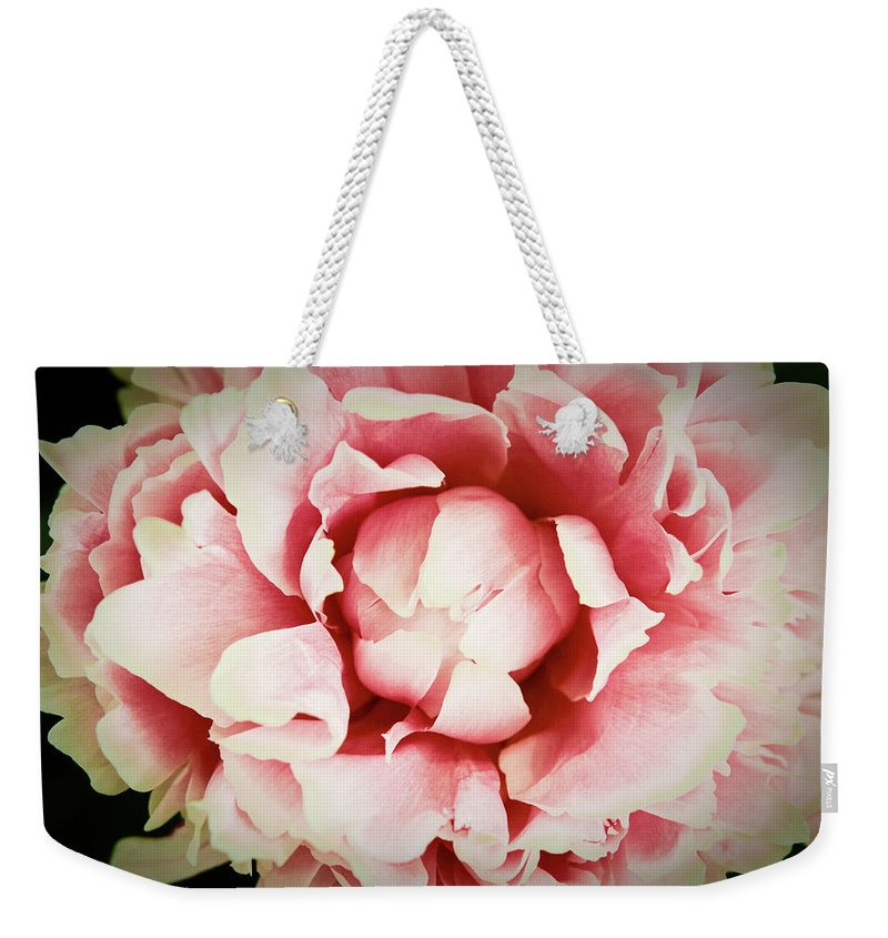 Peach Weekender Tote Bag featuring the photograph Peach Peony by Emily Johnson