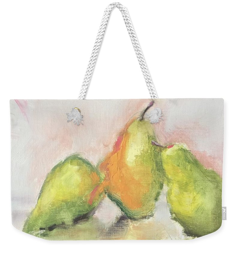 Weekender Tote Bag featuring the painting Pears X 3 by Karen Jordan