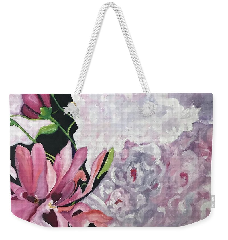 Weekender Tote Bag featuring the painting Peony by Karen Jordan