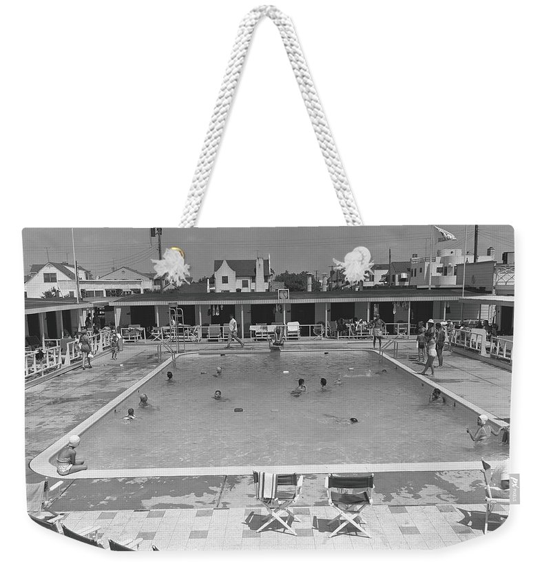Rectangle Weekender Tote Bag featuring the photograph People Swimming In Pool, B&w, Elevated by George Marks