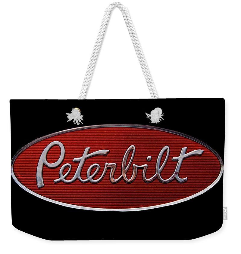 Peterbilt Weekender Tote Bag featuring the photograph Peterbilt Emblem Black by Nick Gray
