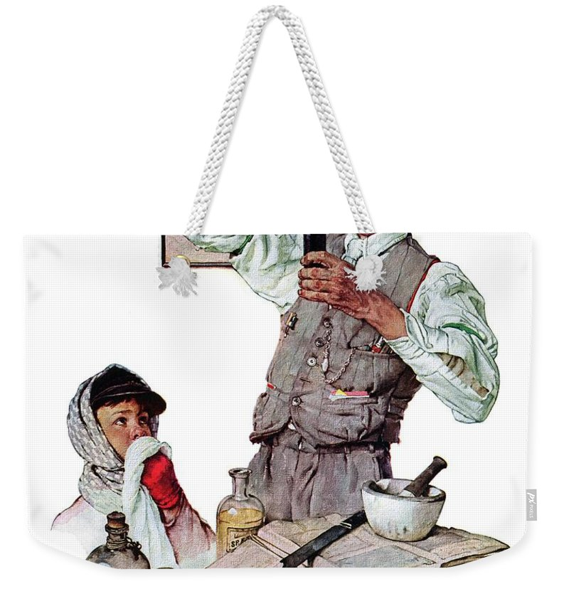 Boy Weekender Tote Bag featuring the drawing Pharmacist by Norman Rockwell