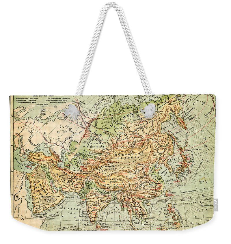 Burnt Weekender Tote Bag featuring the digital art Physical Map Of Asia by Thepalmer