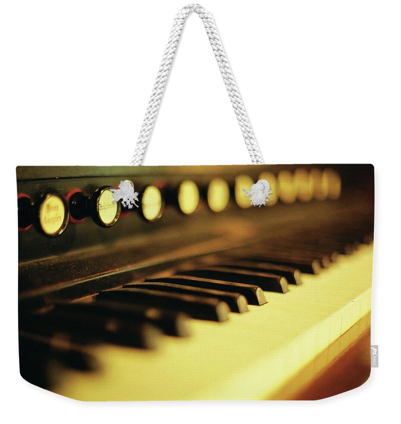 Piano Weekender Tote Bag featuring the photograph Piano Keys And Buttons by Photographer, Loves Art, Lives In Kyoto