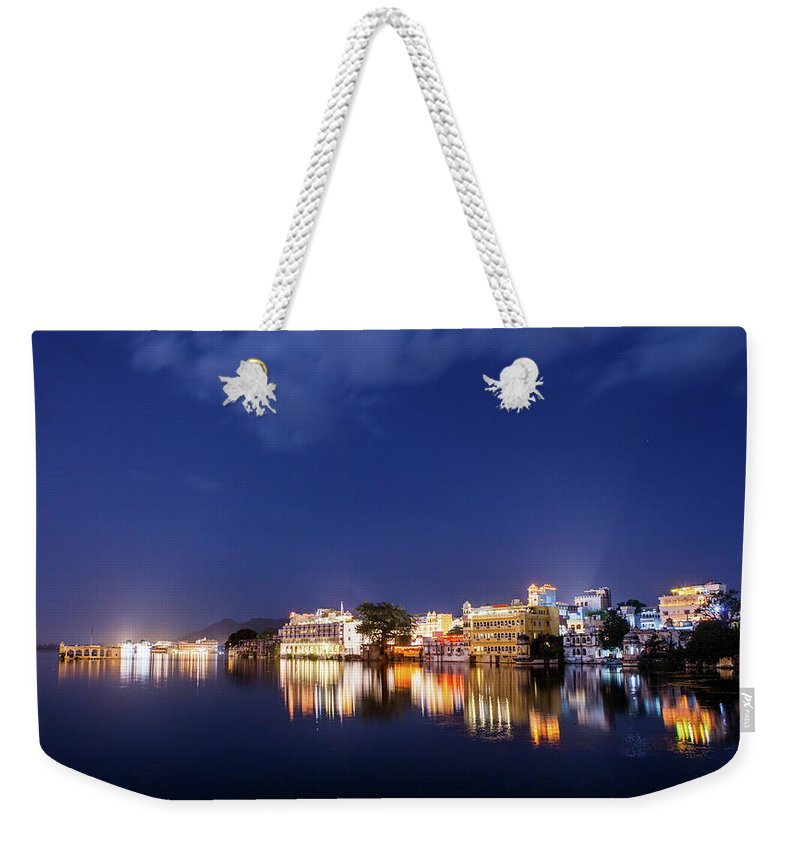 Tranquility Weekender Tote Bag featuring the photograph Pichola Lake Night View by Greenlin