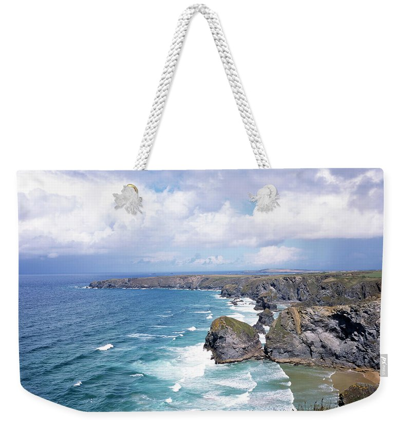 Water's Edge Weekender Tote Bag featuring the photograph Picturesque Cornwall - Bedruthan by Chrisat