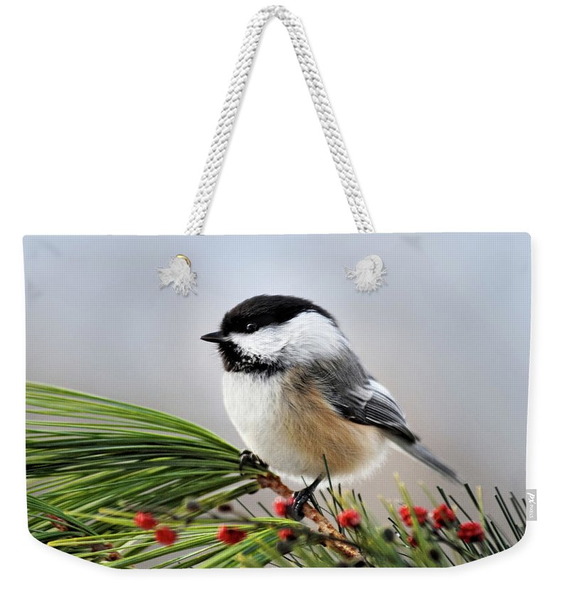 Chickadee Weekender Tote Bag featuring the photograph Pine Chickadee by Christina Rollo
