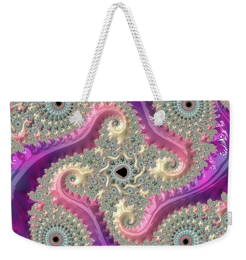 Fractals Weekender Tote Bag featuring the digital art Pink Choreography by Elisabeth Lucas