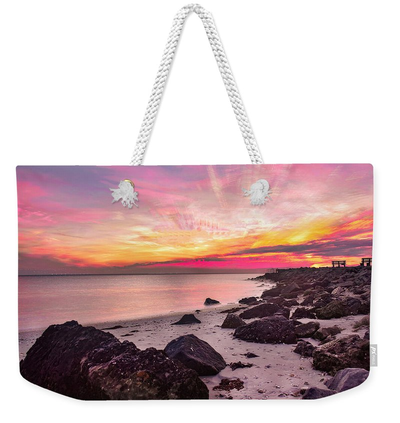 Weekender Tote Bag featuring the photograph Pink Cloud Trails by Ashleena Valene Taylor