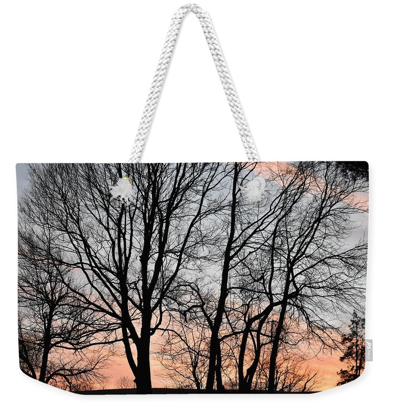 Trees Weekender Tote Bag featuring the photograph Pink Sky by Cassidy Marshall