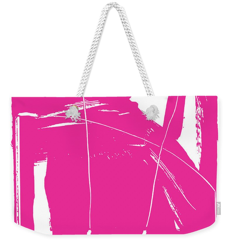 #bringsomethingpink Weekender Tote Bag featuring the painting Pink by Yifat Gat