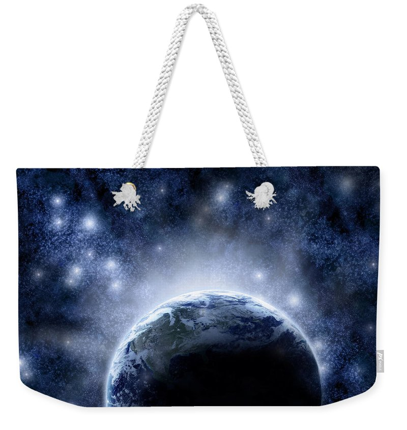 Outdoors Weekender Tote Bag featuring the digital art Planet Earth And Stars by Nicholas Monu