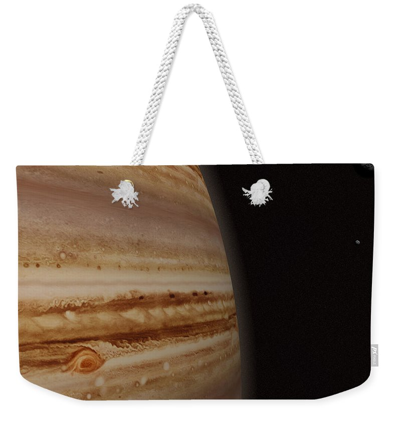 Black Color Weekender Tote Bag featuring the photograph Planet Jupiter And A Distant Moon by Jason Reed