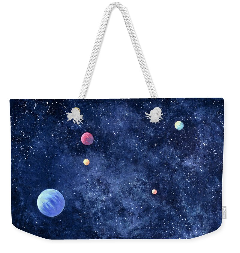The Media Weekender Tote Bag featuring the photograph Planets In Solar System by Huntstock