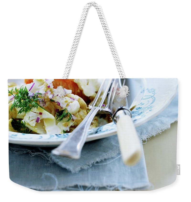 Copenhagen Weekender Tote Bag featuring the photograph Plate Of Pasta With Fish by Line Klein