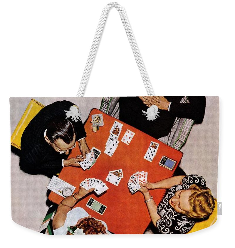 Bridge Weekender Tote Bag featuring the drawing Playing Cards by Norman Rockwell