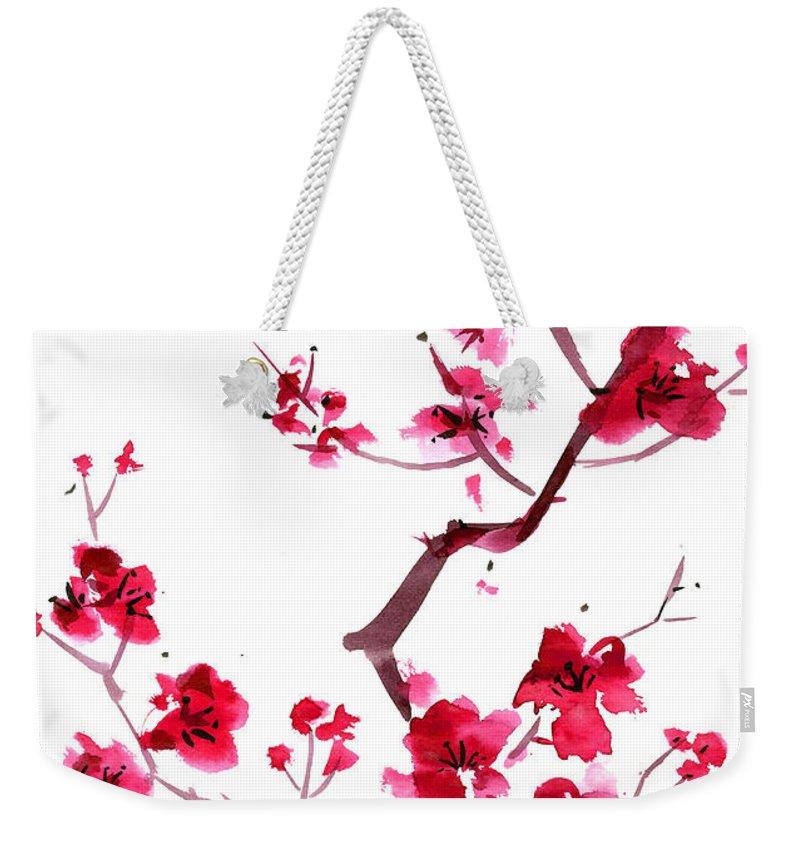 Watercolor Painting Weekender Tote Bag featuring the digital art Plum Blossom Painting by Kaligraf