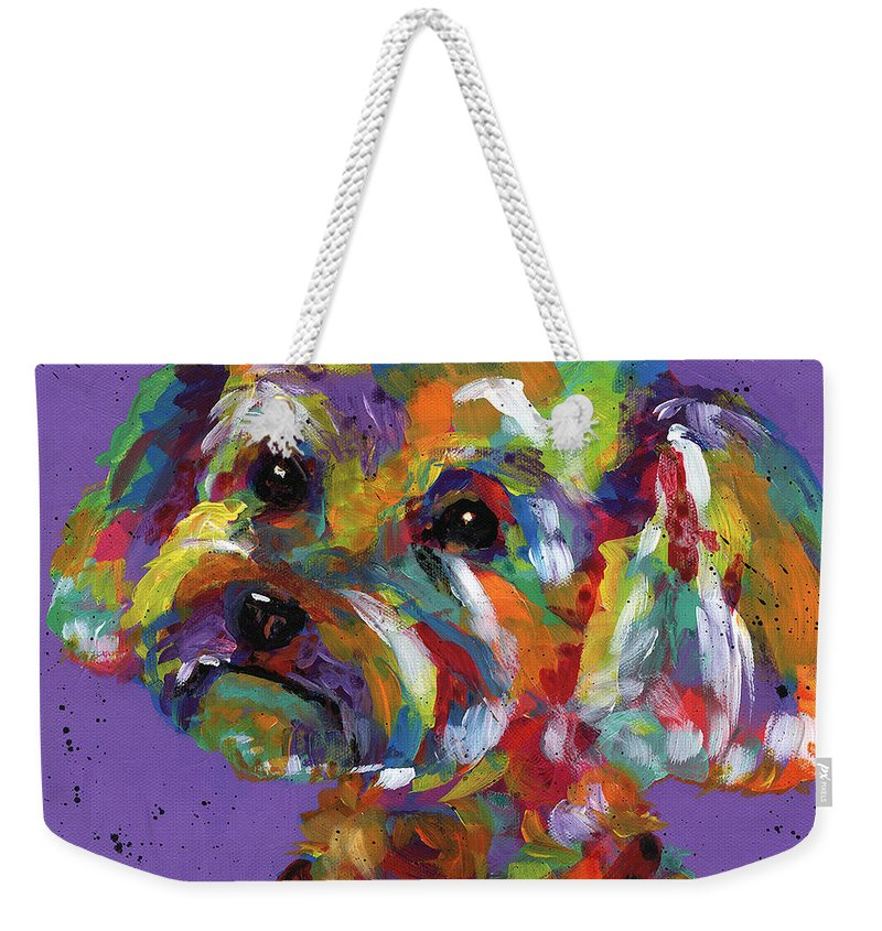 Tracy Miller Weekender Tote Bag featuring the painting Poodle by Tracy Miller