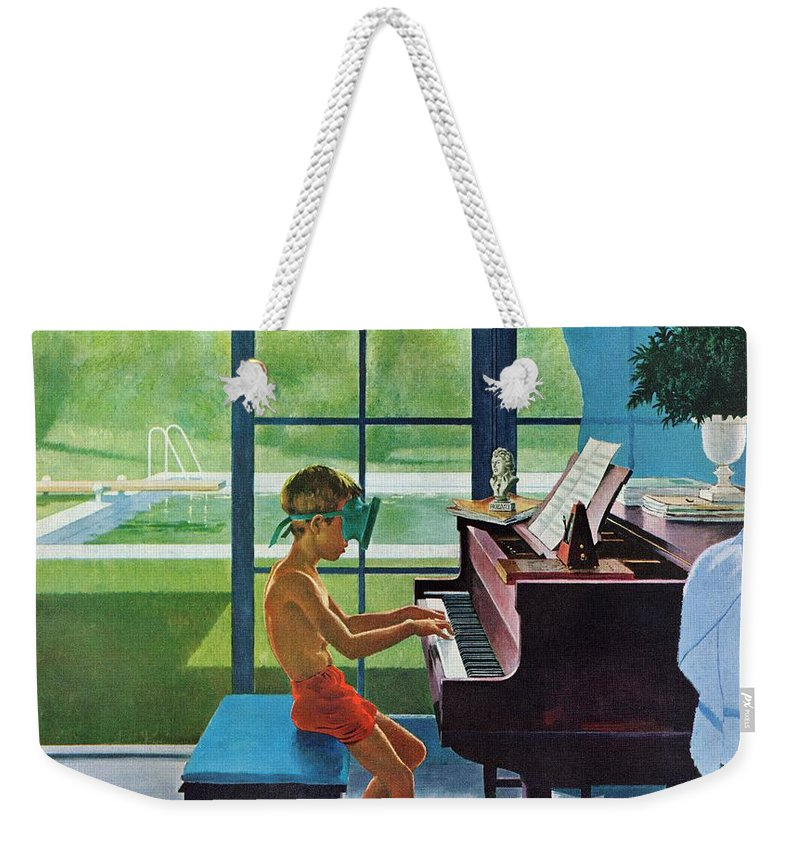 Boy Weekender Tote Bag featuring the drawing Poolside Piano Practice by George Hughes