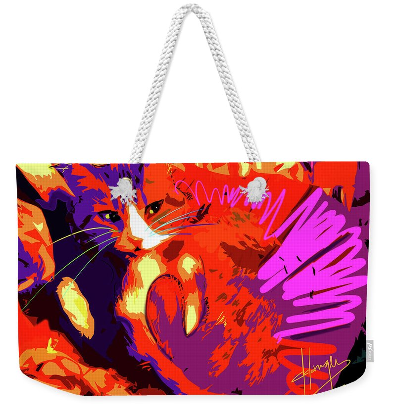 Dizzycats Weekender Tote Bag featuring the painting Pop Cat Tiger by DC Langer