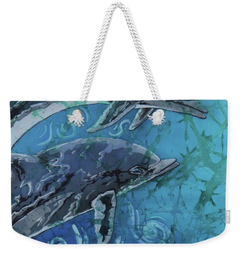 Porpoise Weekender Tote Bag featuring the painting Porpoise Pair - Close Up by Sue Duda