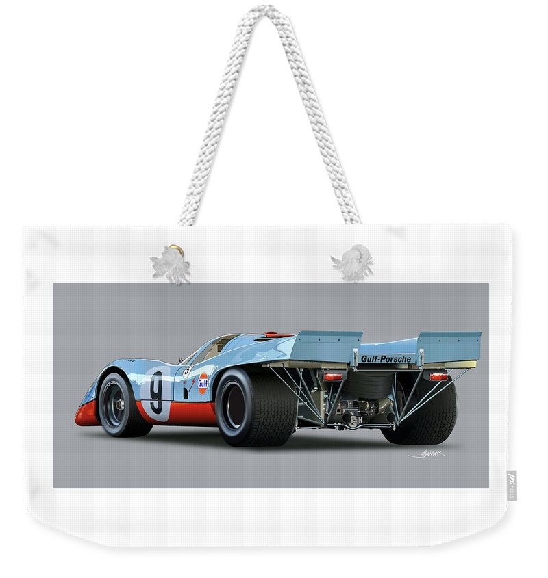 Illustration Of A Porsche 917 Rear Weekender Tote Bag featuring the drawing Porsche 917 Rear by Alain Jamar