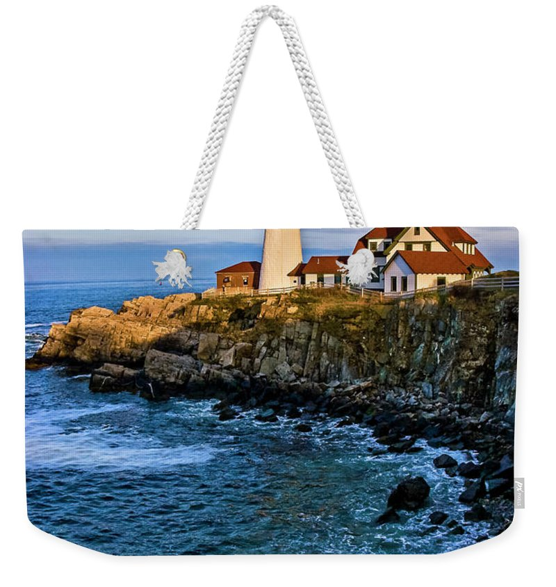 Built Structure Weekender Tote Bag featuring the photograph Portland Head Light by C. Fredrickson Photography