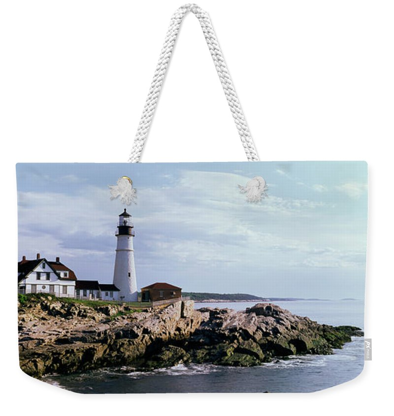 Extreme Terrain Weekender Tote Bag featuring the photograph Portland Head Lighthouse, Cape by Tony Sweet