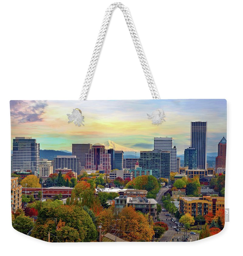 Viewpoint Weekender Tote Bag featuring the photograph Portland Oregon Downtown Cityscape In by David Gn Photography