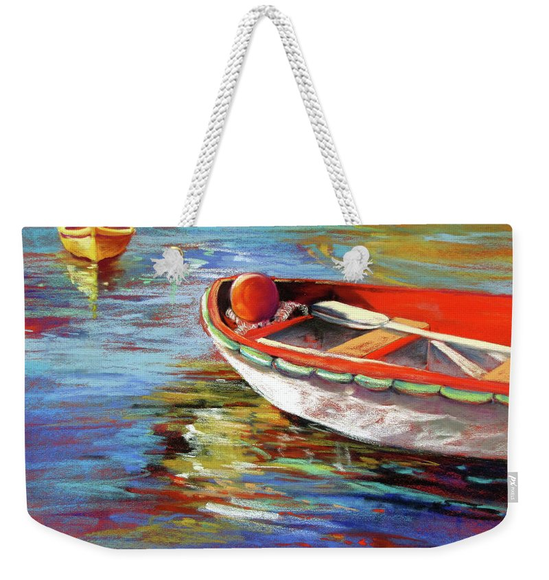 Seascape Weekender Tote Bag featuring the painting Portofino Drift by Rae Andrews