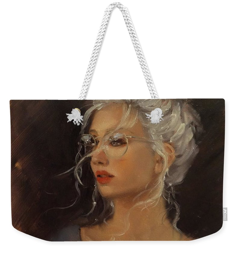 Beautiful Woman Head Shot Weekender Tote Bag featuring the painting Portrait Demo 7 by Laura Lee Zanghetti