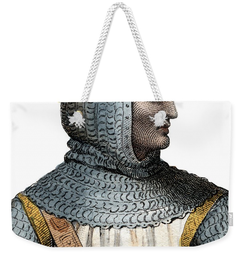 Rollo Weekender Tote Bag featuring the painting Portrait Of Rollo, Robert I, Viking Leader And Duke Of Normandy by French School