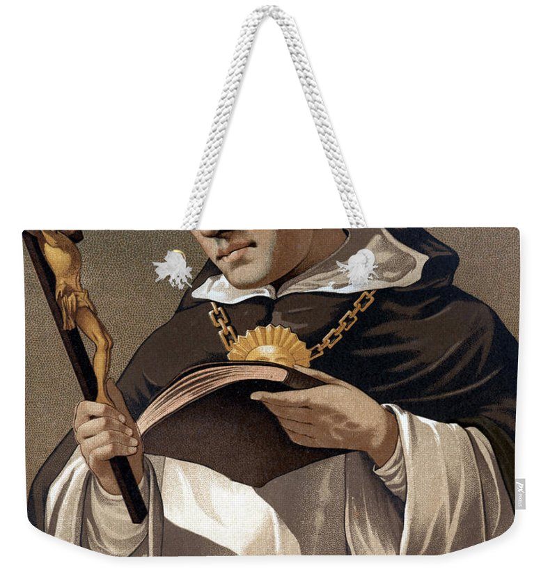 Cross Weekender Tote Bag featuring the painting Portrait Of St Thomas Aquinas 1225-1274, Italian Theologian by Italian School