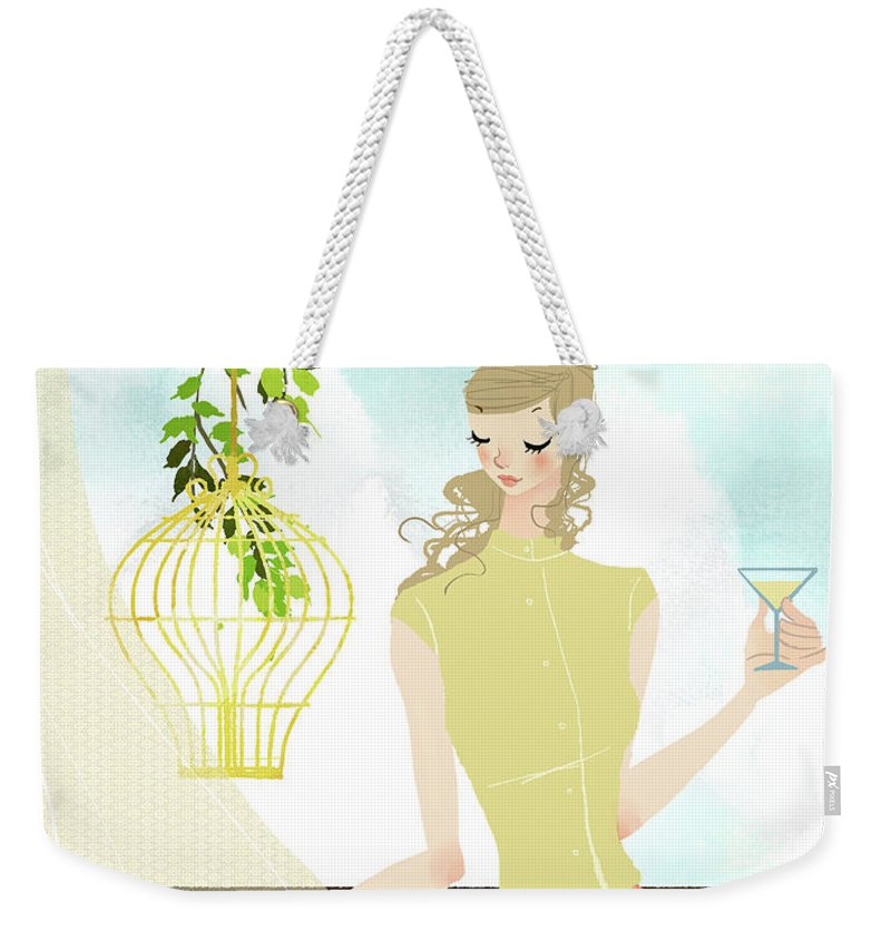 Tranquility Weekender Tote Bag featuring the digital art Portrait Of Young Woman Holding by Eastnine Inc.