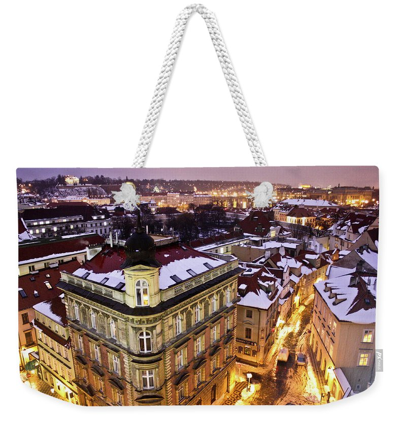 Snow Weekender Tote Bag featuring the photograph Prague Lights by Usman Baporia