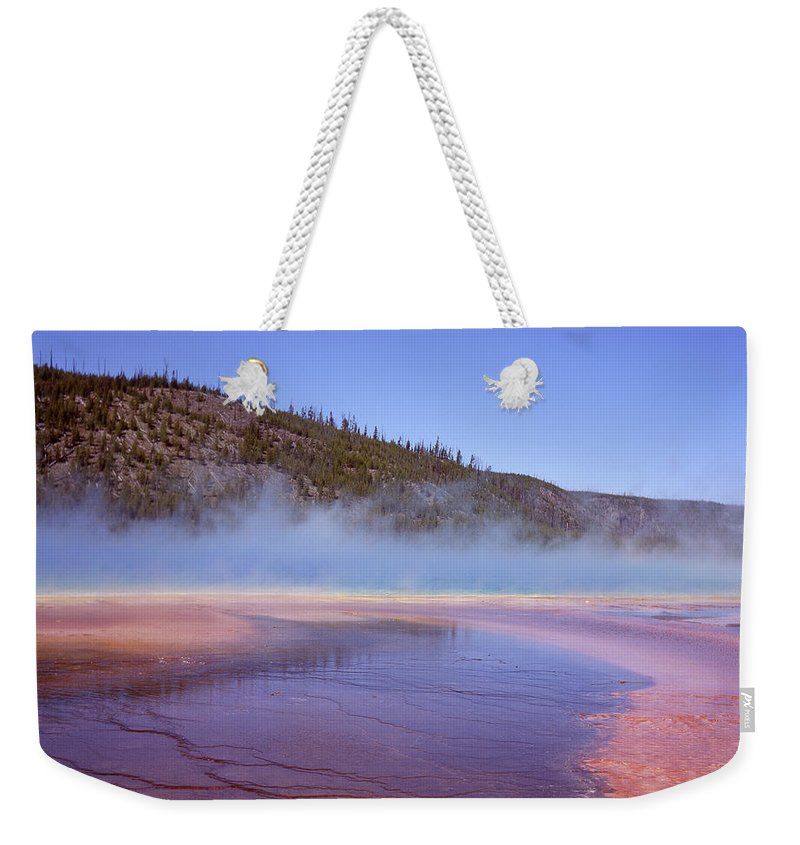 Tranquility Weekender Tote Bag featuring the photograph Prismatic Spring Algae by L. Maile Smith