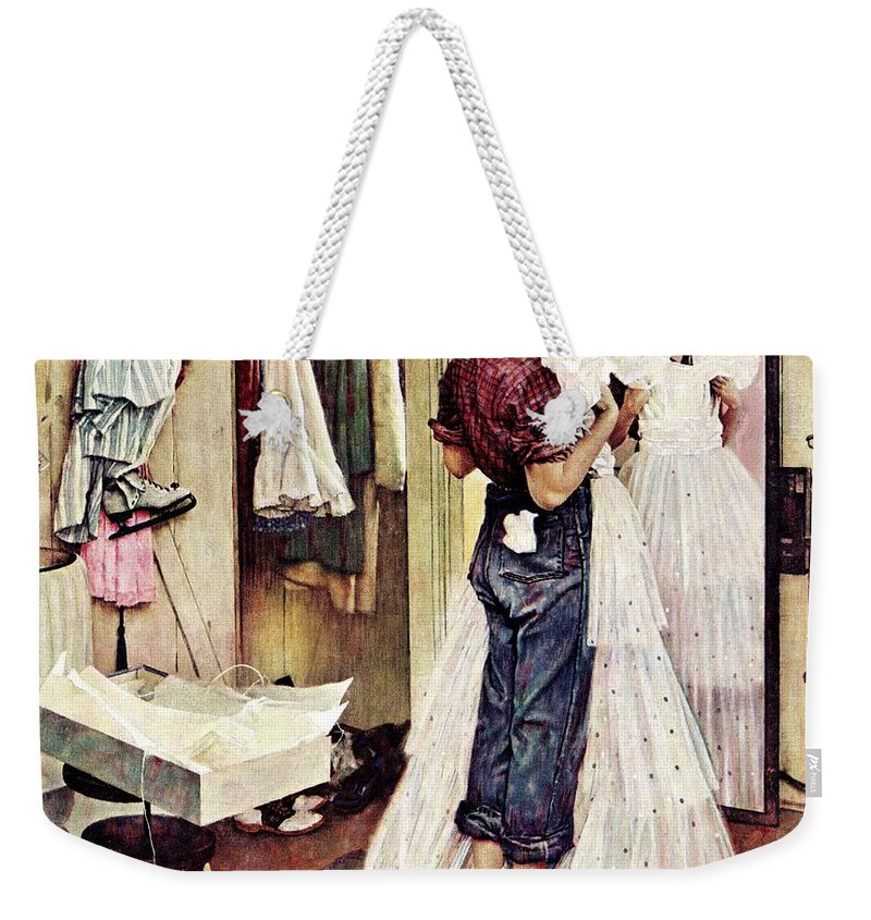 Dresses Weekender Tote Bag featuring the drawing Prom Dress by Norman Rockwell