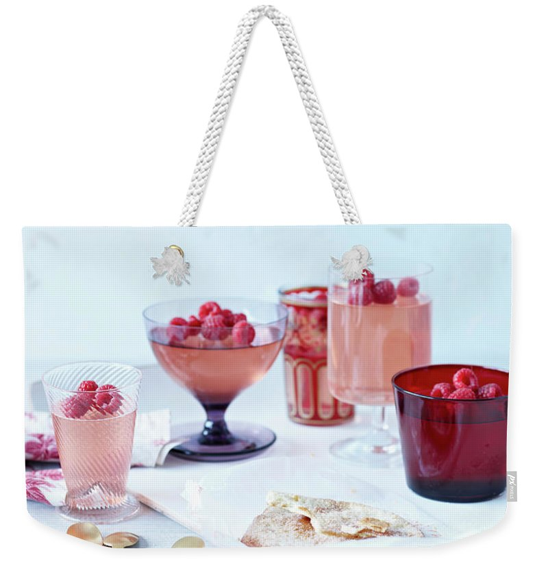 Spoon Weekender Tote Bag featuring the photograph Prosecco Jellies by Brett Stevens
