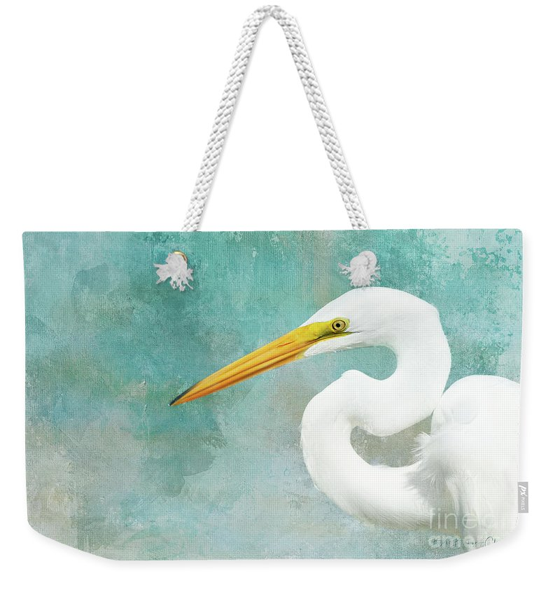Wildlife Weekender Tote Bag featuring the photograph Protrait Of A Great Egret by Beve Brown-Clark Photography