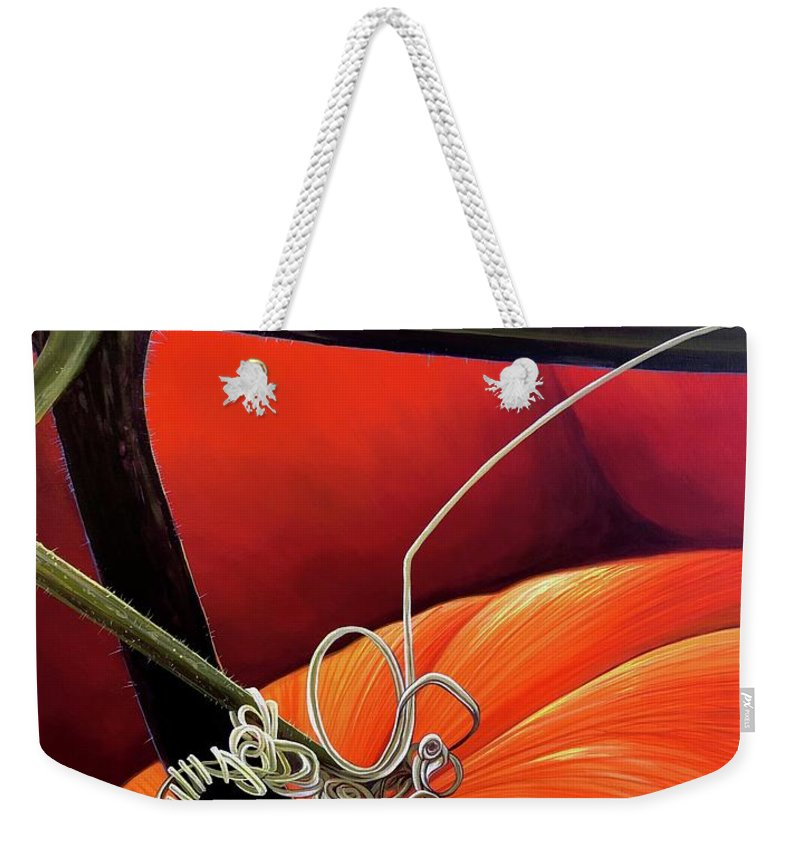 Vine Weekender Tote Bag featuring the painting Pumpkin Patch by Hunter Jay