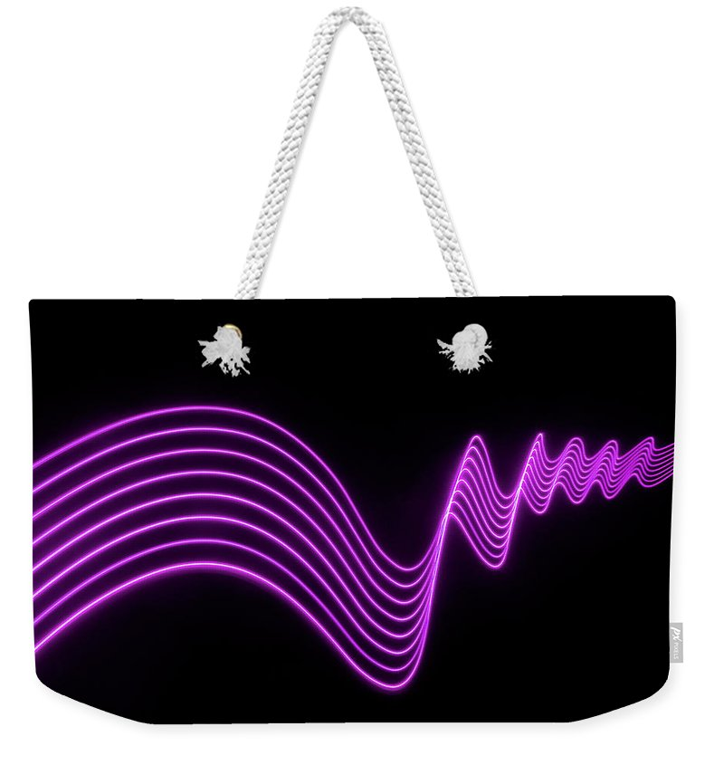 Laser Weekender Tote Bag featuring the photograph Purple Abstract Lights Trails And by John Rensten