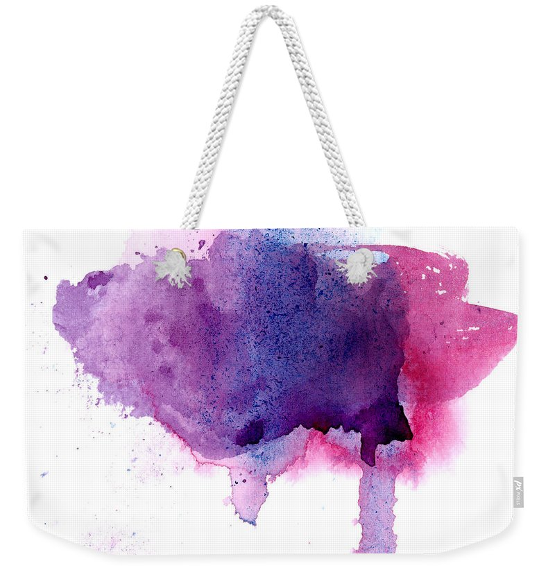 Watercolor Painting Weekender Tote Bag featuring the photograph Purple And Violet Abstract Painted by Alenchi