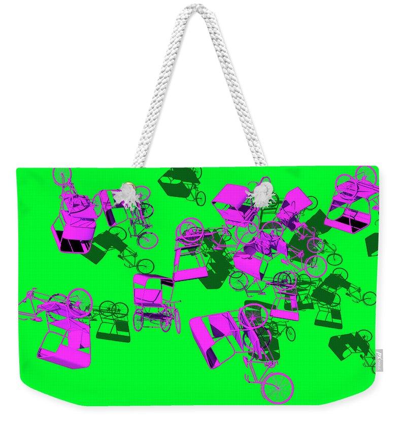 Rickshaws Weekender Tote Bag featuring the digital art Purple Rickshaws Flying by Heike Remy