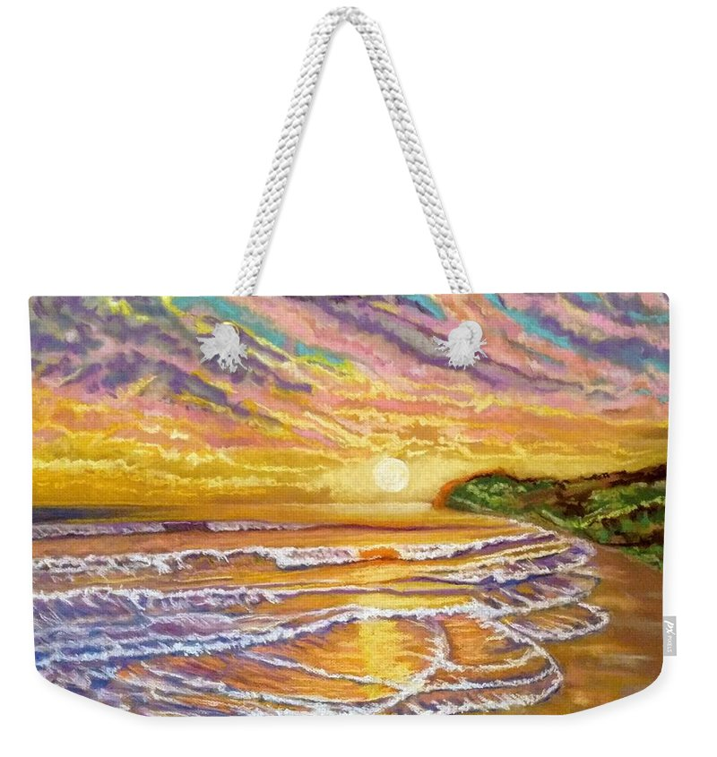 Sunset Weekender Tote Bag featuring the painting Purple Sunset Beach by Patricia Bonnette