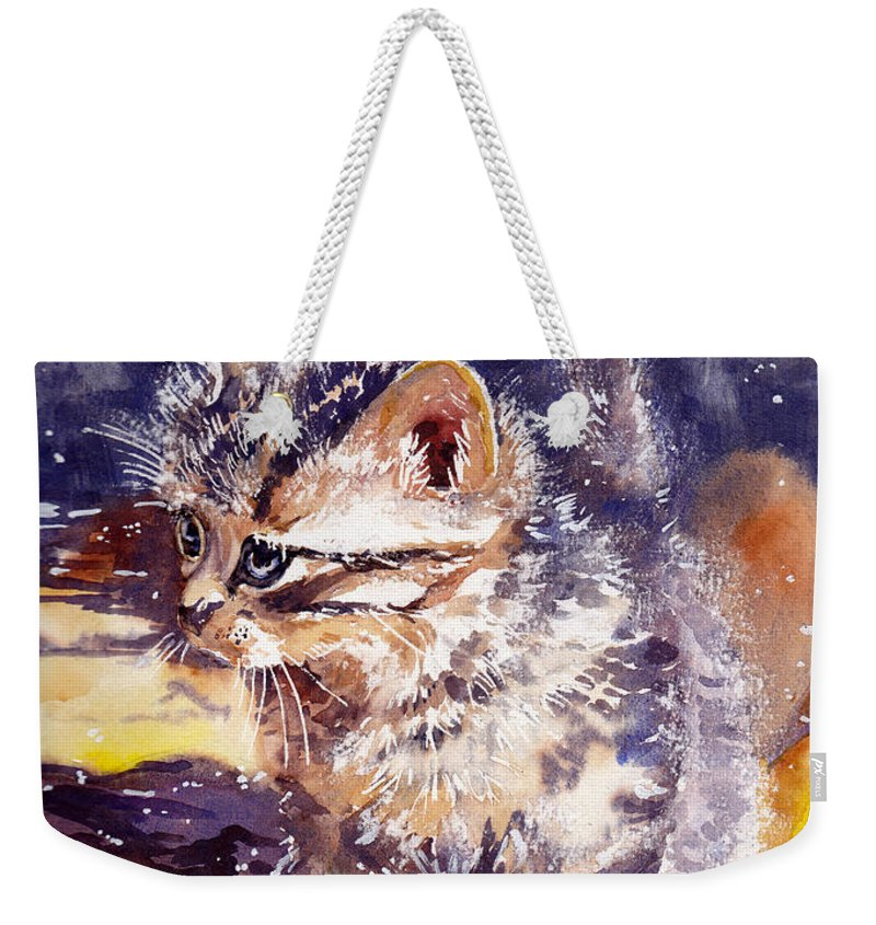 Little Weekender Tote Bag featuring the painting Pussy On A Yellow Blanket by Suzann Sines